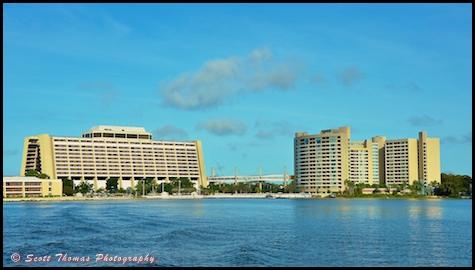Contemporary Resort and Bay Lake Towers from Bay Lake, Walt Disney World, Orlando, Florida