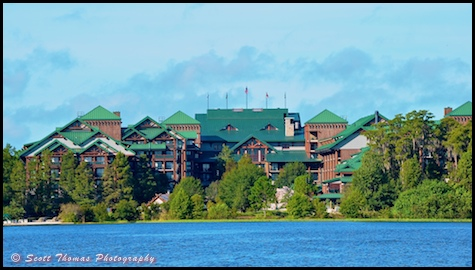 Wilderness Lodge from Bay Lake, Walt Disney World, Orlando, Florida