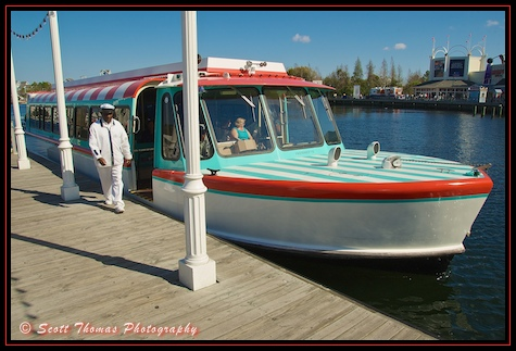 A Friendship boat docks at Disney's Boardwalk Resort, Walt Disney World, Orlando, Florida