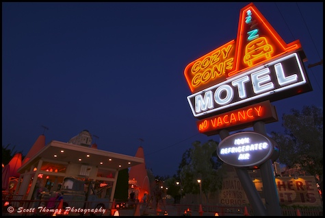 Cozy Cone Motel neon sign at Carsland in California Adventure, Anaheim, California