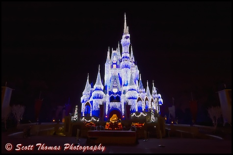 Cinderella Castle decked out with Dream lights for Christmas in the Magic Kingdom, Walt Disney World, Orlando, Florida