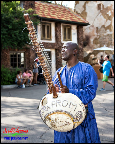 Muscian playing a mandinka harp in the African village of Harambe at Disney's Animal Kingdom, Walt Disney World, Orlando, Florida