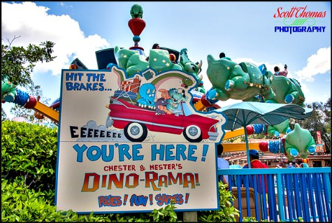 Sign for Chester & Hester's Dino-Rama in Dinoland USA at Disney's Animal Kingdom, Walt Disney World, Orlando, Florida