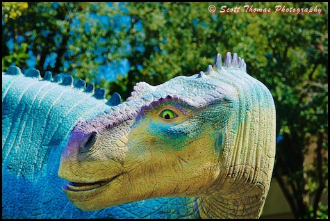 AStatue of Aladar outside Dinosaur ride in Disney's Animal Kingdom, Walt Disney World, Orlando, Florida