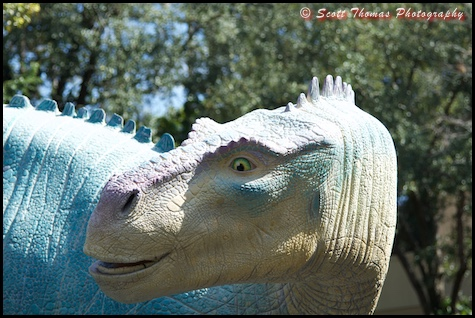 Statue of Aladar outside Dinosaur ride in Disney's Animal Kingdom, Walt Disney World, Orlando, Florida