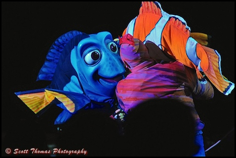 Dory sings to Marlin in Finding Nemo - The Musical at Disney's Animal Kingdom, Walt Disney World, Orlando, Florida