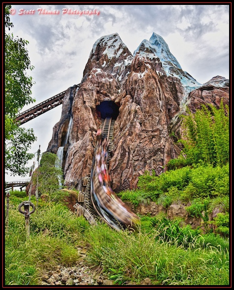 Guests fly down the side of Expedition EVEREST in Disney's Animal Kingdom, Walt Disney World, Orlando, Florida