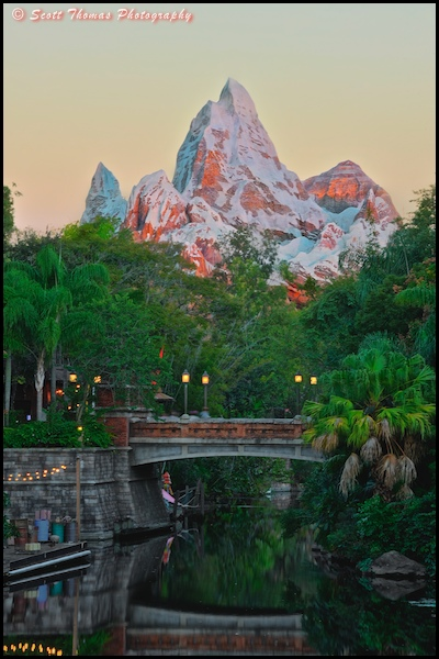 Expedition EVEREST rising above Asia in Disney's Animal Kingdom, Walt Disney World, Orlando, Florida.