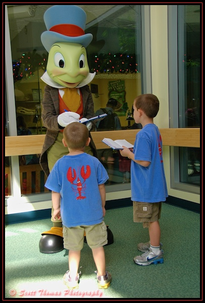 Jiminy Cricket greets young guests at Rafiki's Planet Watch in Disney's Animal Kingdom, Walt Disney World, Orlando, Florida