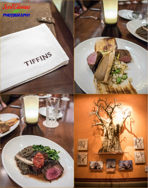 Collage of photos from Tiffins restaurant in Disney's Animal Kingdom, Walt Disney World, Orlando, Florida