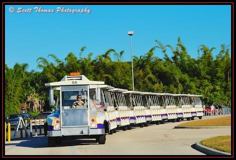 Animal Kingdom parking lot tram waitng to pick up guests, Walt Disney World, Orlando, Florida