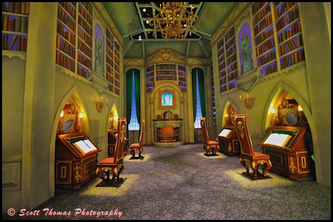 The Beast's Library inside the Disney Animation Building at Disney's California Adventure, Anaheim, California