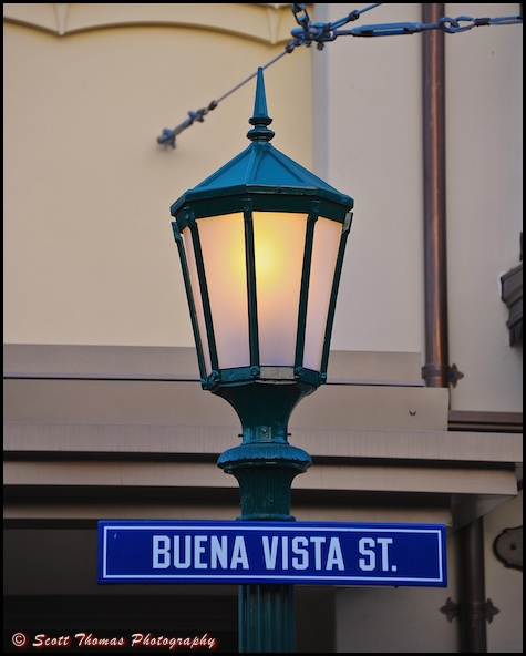 Buena Vista Street lamppost sign in Disney's California Adventure, Anaheim, California