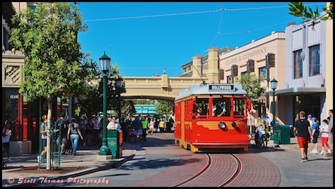Red Car Trolley on Buena Vista Street in Disney's California Adventure, Anaheim, California