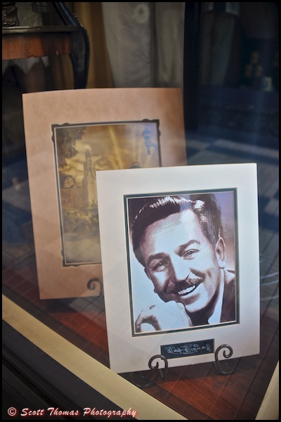 Photo of Walt Disney in the Elias & Co. store window on Buena Vista Street in Disney's California Adventure, Anaheim, California