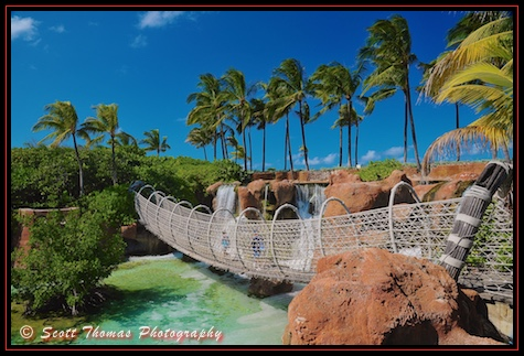 People walking on a rope bridge over the Shark Pool at the Atlantis Resort on Paradise Island on Nassau, Disney Cruise Line, Bahamas