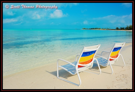 A couple of chairs on the Serenity Bay Adult Beach on Castaway Cay, Disney Cruise Line, Bahamas
