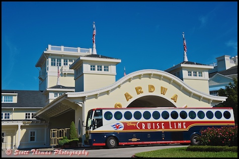 Disney Cruise Line Bus waiting to take guests to Port Canaveral from Disney's Boardwalk Resort, Walt Disney World, Orlando, Florida.