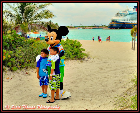 Mickey Mouse making friends on Castaway Cay during a Disney Dream cruise, Disney Cruise Line, Bahamas