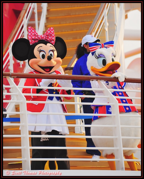 Daisy Duck and Minnie Mouse on the Christening Cruise for the Disney Dream cruise ship