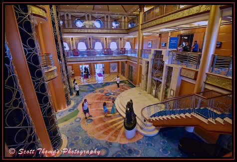 Lobby of the Disney Magic cruise ship, Disney Cruise Line, Bahamas