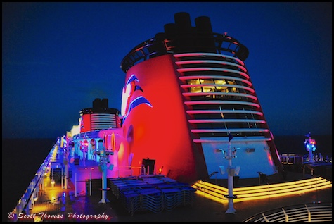 The Disney Dream early in the morning sailing Caribbean waters near Castaway Cay, Bahamas