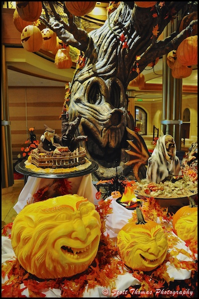 Elaborately carved pumpkins accompany the Pumpkin Tree on the Disney Dream, Disney Cruise Line