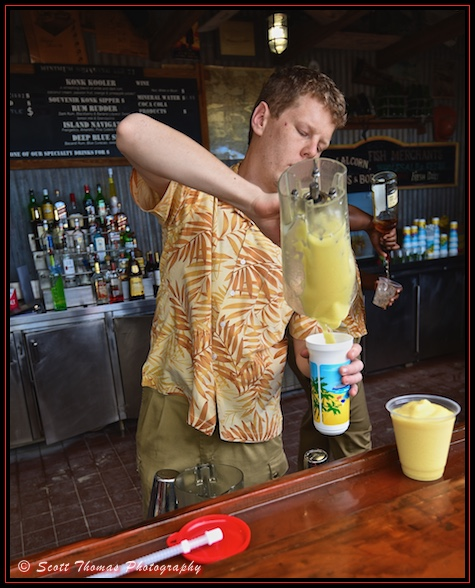 Bartender fills up a Konk Kooler Sipper Cup at the Castaway Air Bar on Serenity Bay on Castaway Cay, Disney Cruise Line, Bahamas