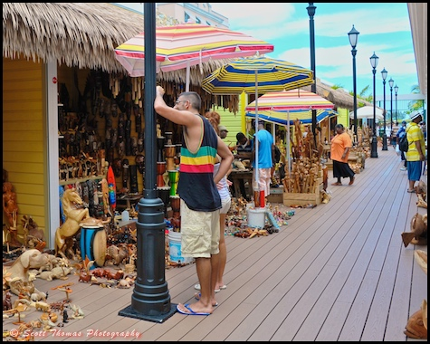 Wood carving kiosks at the Straw Market in Nassau, Bahamas