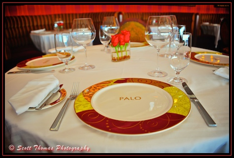 Table settings in the adult only restaurant, Palo, on the Disney Dream cruise ship, Disney Cruise Line, Bahamas