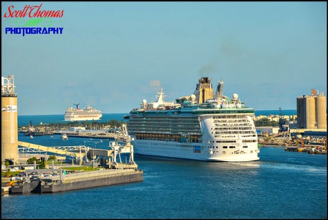 Royal Caribbean cruise ship Freedom of the Seas leaving Port Canaveral in before the Disney Dream in Florida