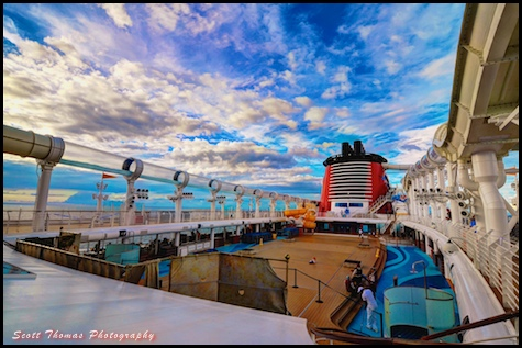 Late afternoon sky over Deck 11 on the Disney Dream cruise ship.