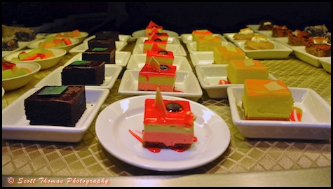 Desserts lined up in Canbana's restaurant on the Disney Dream.