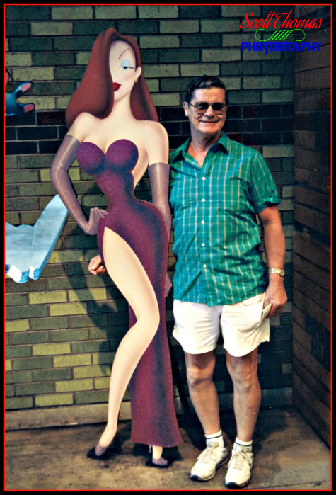 Guest posing with Jessica Rabbit at Disney/MGM Studios in 1989, Walt Disney World, Orlando, Florida