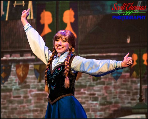 Princess Anna during the For the First Time in Forever: Frozen Sing-Along Celebration stage show in the Hyperion Theater at Disney's Hollywood Studios, Walt Disney World, Orlando, Florida