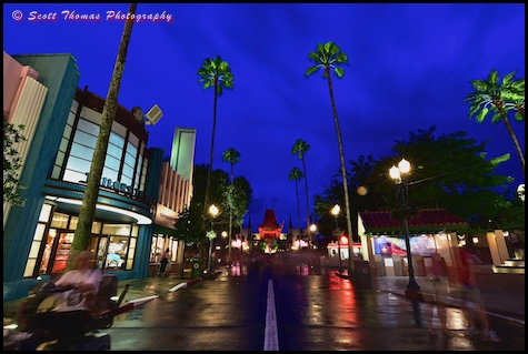 Blue hour on Hollywood Blvd. in Disney's Hollywood Studios, Walt Disney World, Orlando, Florida