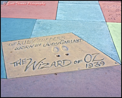 Ruby slippers worn by Judy Garland in the Wizard of Oz imprinted in a cement block outside the Great Movie Ride in Disney's Hollywood Studios, Walt Disney World, Orlando, Florida
