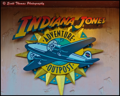The sign outside of the Indiana Jones Adventure Outpost shop in the Echo Lake area of Disney's Hollywood Studios, Walt Disney World, Orlando, Florida