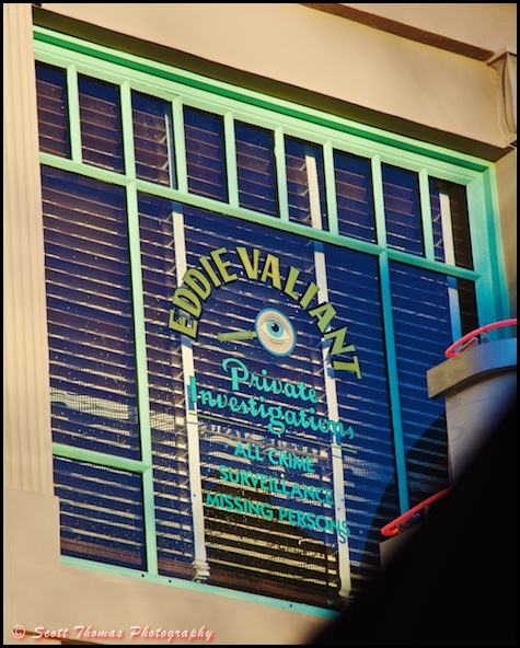 The window to Eddie Valiant's Private Investigations above the Hollywood & Vine restaurant in Disney's Hollywood Studios, Walt Disney World, Orlando, Florida