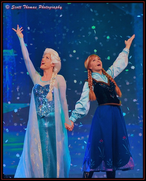 Elsa and Anna performing in the For the First Time in Forever: A Frozen Sing-along Celebration at Disney's Hollywood Studios, Walt Disney World, Orlando, Florida