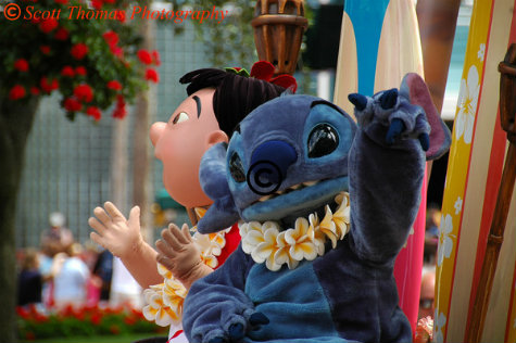 Lilo & Stitch in a Motorcar on Parade in Disney's Hollywood Studios, Walt Disney World, Orlando, Florida