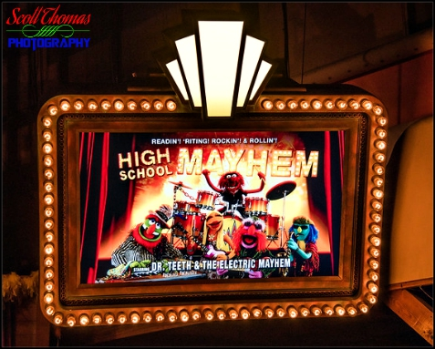 Poster for High School Mayhem in the queue for MuppetVision 3-D at Disney's Hollywood Studios, Walt Disney World, Orlando, Florida