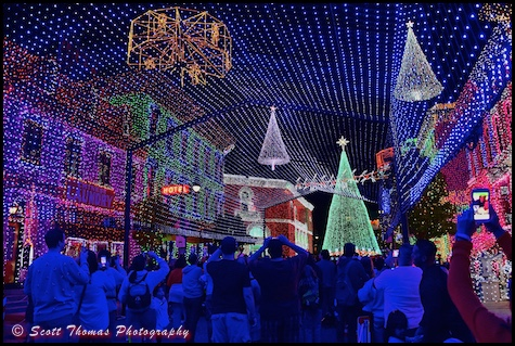Osborne Family Spectacle of Dancing Lights on San Francisco Street in Disney's Hollywood Studios, Walt Disney World, Orlando, Florida