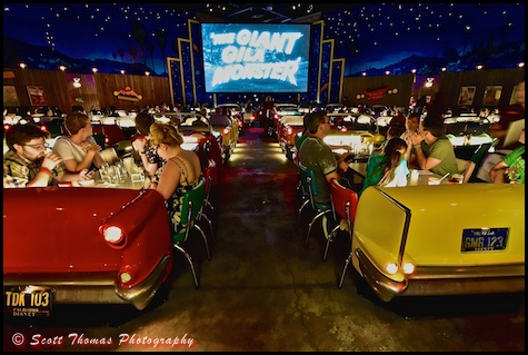 Rows of cars leading to the Big Screen inside the Sci-Fi Dine-In Theater restaurant at Disney's Hollywood Studios, Walt Disney World, Orlando, Florida