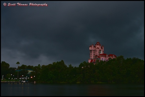 Tower of Terror as a storm closes in on Disney's Hollywood Studios, Walt Disney World, Orlando, Florida