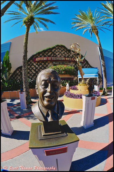 Bust of Walt Disney at the Academy of Television Arts and Sciences in Disney's Hollywood Studios, Walt Disney World, Orlando, Florida
