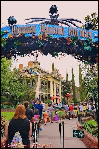 Haunted Mansion Holiday gate in Disneyland, Anaheim, California