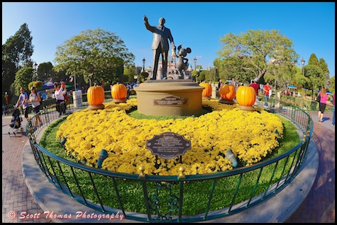 Partners Statue decorated for Halloween in Disneyland, Anaheim, California