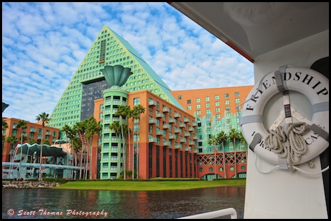 Dolphin Resort from a Friendship boat, Walt Disney World, Orlando, Florida.