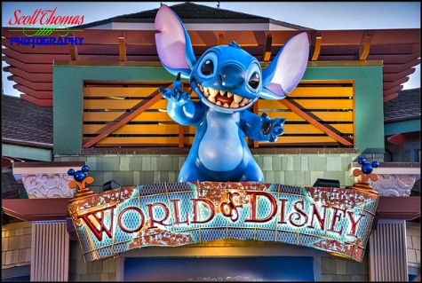 Stitch above one of the entrances to the World of Disney store at Disney Springs, Walt Disney World, Orlando, Florida